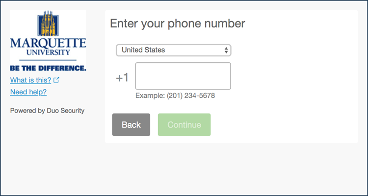 Multi-Factor Authentication Phone Number Entry
