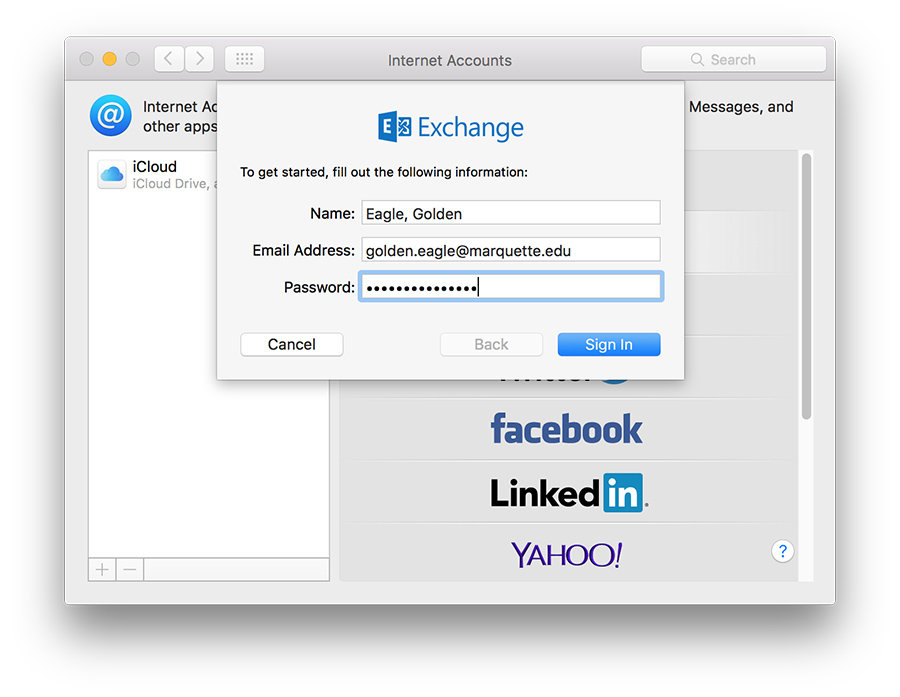 how to set up uni email on mac