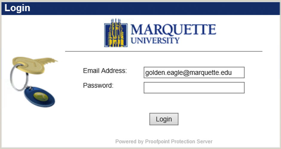 Proofpoint login screen