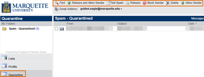 Quarantined messages show in the Spam-Quarantined pane.