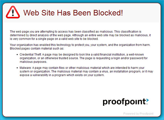 Web Site Has Been Blocked! message screenshot