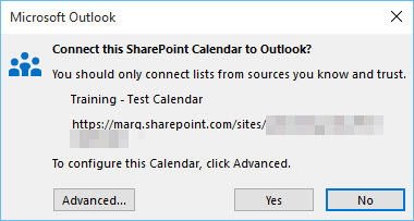 Microsoft Outlook window asking
