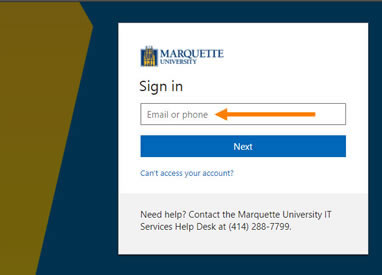 Enter your Marquette email under