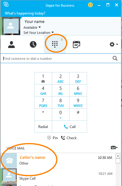 New voice mails show in the Skype for Business window.