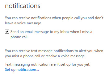 Set up notifications for missed calls
