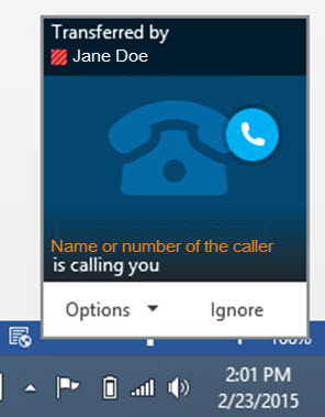 Person calling and person who transferred the call will show.