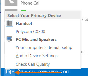 Change your audio device for phone calls.