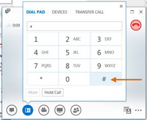 Click # on the dialpad.