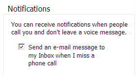 Scroll to notifications. Check: Send an e-mail message to my inbox when i miss a phone call.