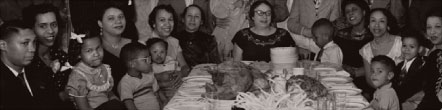 Vintage family dinner photograph
