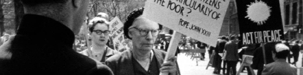 Archival image of Dorothy Day antiwar protest