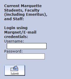 Screenshot of MARQcat login screen