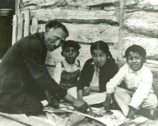 Photo: Black Elk and children, 1927-1928
