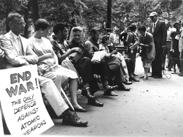 Photo of Dorothy Day and others in Washington Square Park, 1956