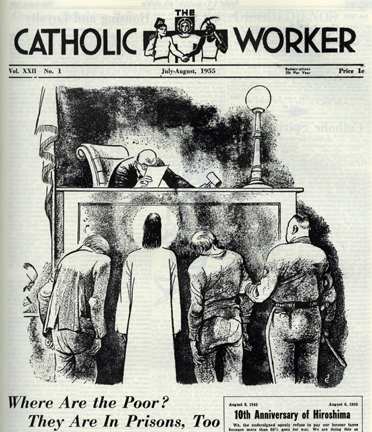 Cover illustration from The Catholic Worker July-August 1955 isue