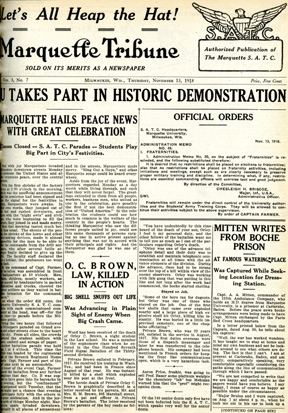 Photo of the cover page from the Marquette Tribune, vol 3, No. 7
