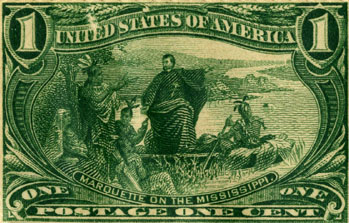 Photo of postage stamp with Marquette on the Mississippi