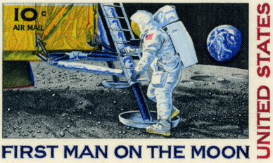 Photo of 10 cent Air Mail stamp - First Man on the Moon