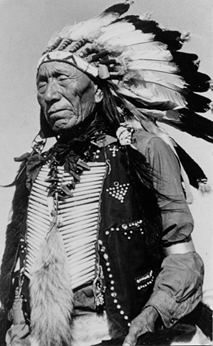 Holy Man Nicholas Black Elk wearing War Bonnet 1937
