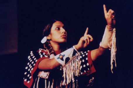 Signing the Lord's Prayer in Plains Indian Sign Language at Tekakwitha 
