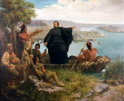 Painting Father Marquette and the Indians by Wilhelm Lamprecht