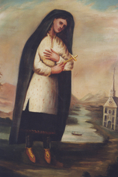 Painting of St. Kateri Tekakwitha by Claude Chauchetiere SJ