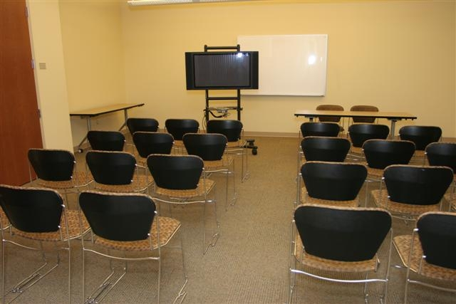 photo of small auditorium size conference room setup