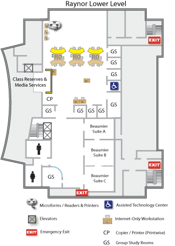 Raynor Lower Level floor map