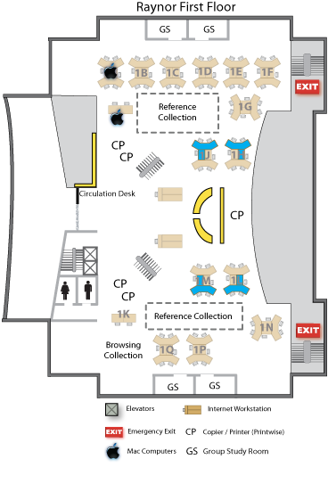 Raynor first floor map indicating special workstations