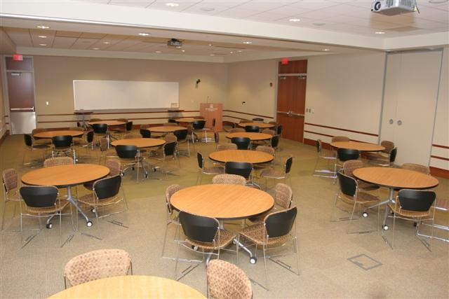 photo of large room setup with round tables