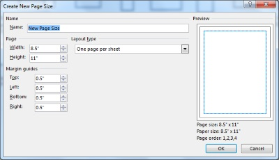Microsoft Publisher-setting dimensions