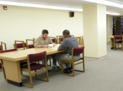 Image of large study tables in Memorial Library