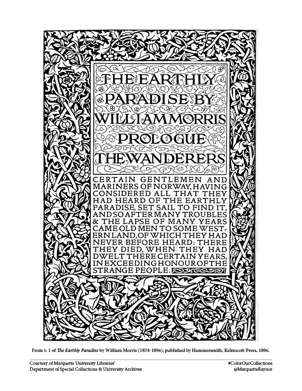 Page 1 of the coloring book, taken from Morris' The Earthly Paradise