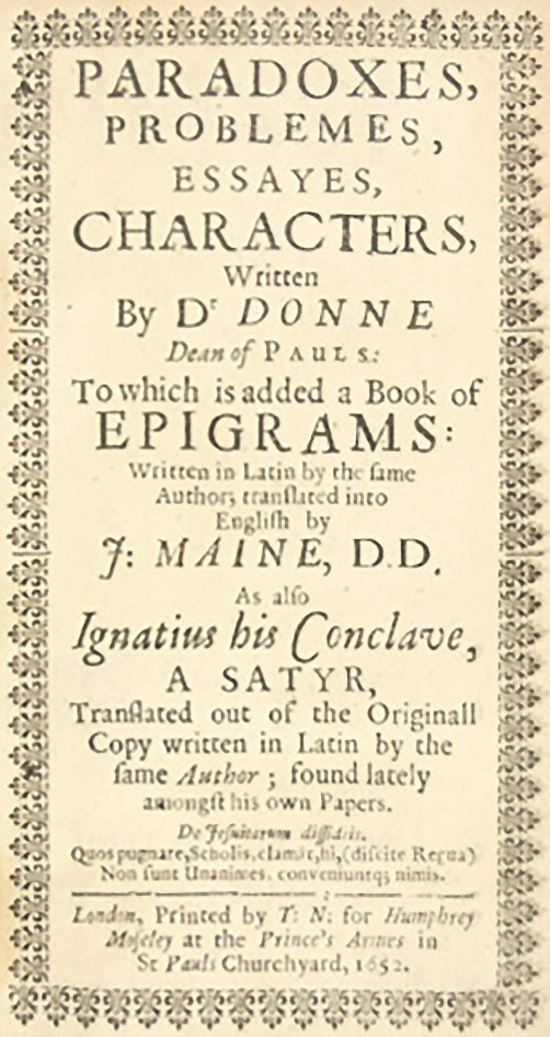 Title page to Donne's Ignatius his Conclave