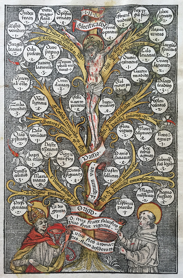 Hand-tinted woodcut of tree of sanguinity