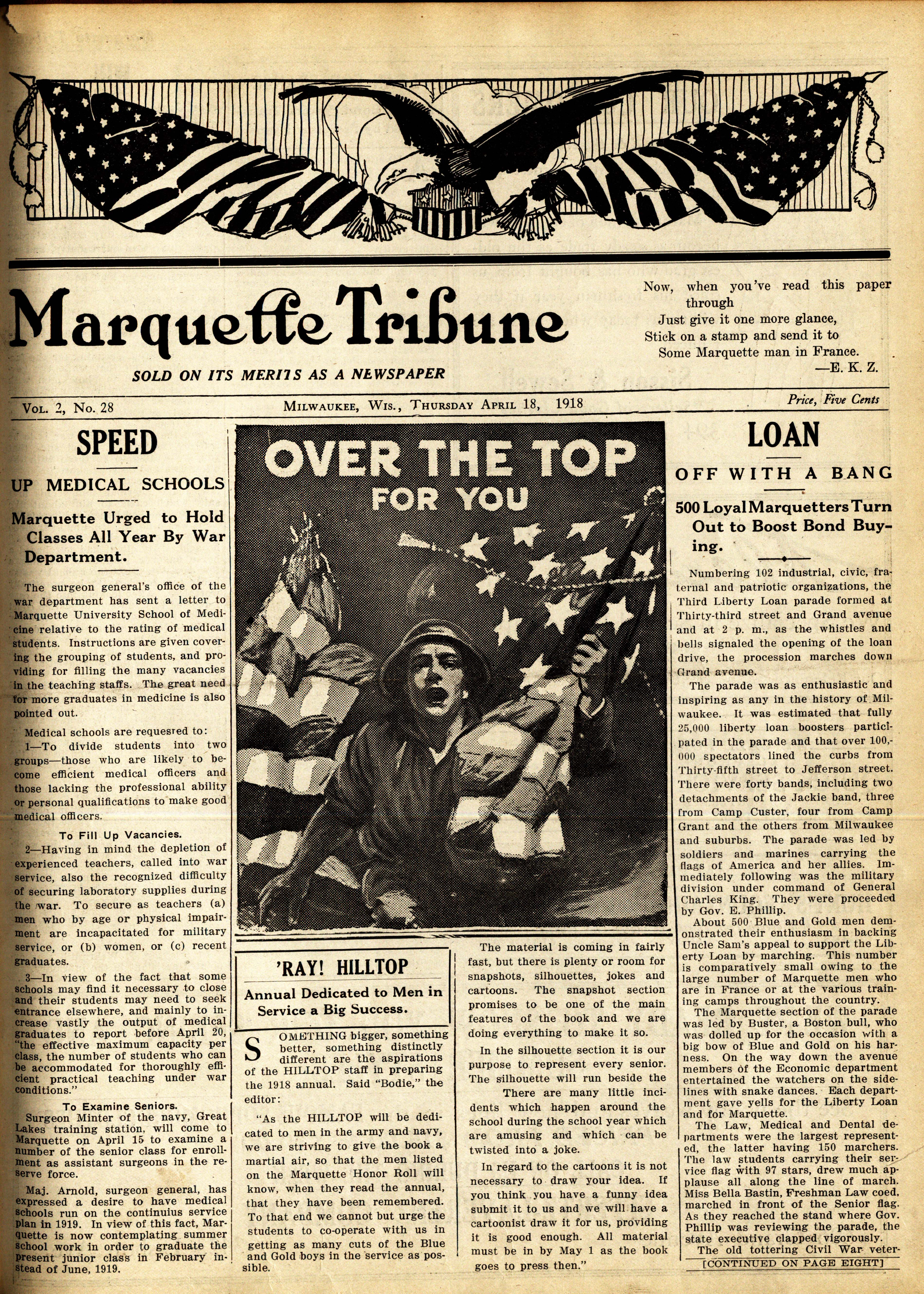 Tribune front page from April 18, 1918