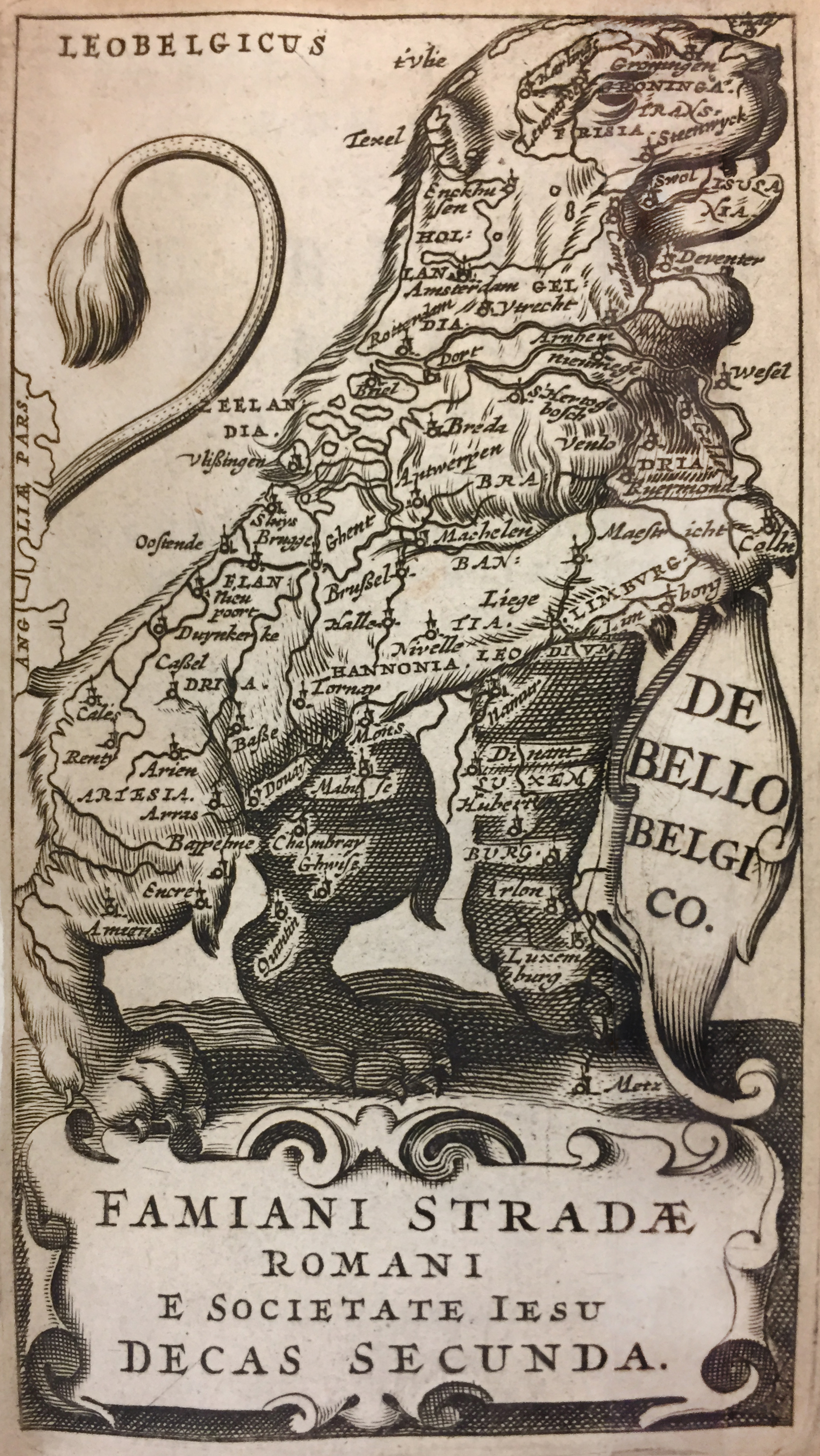 A Leo Belgicus Map from a book by Famiano Strada, 1658