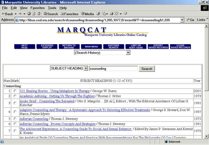 graphic showing MARQCAT screen with 'Export Saved Records' button