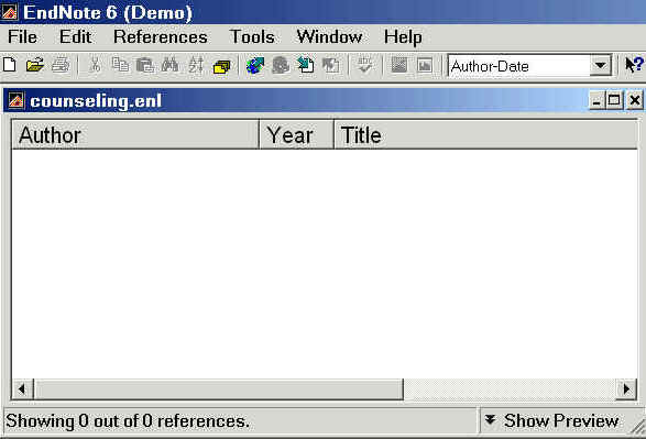graphic showing the Endnote library screen