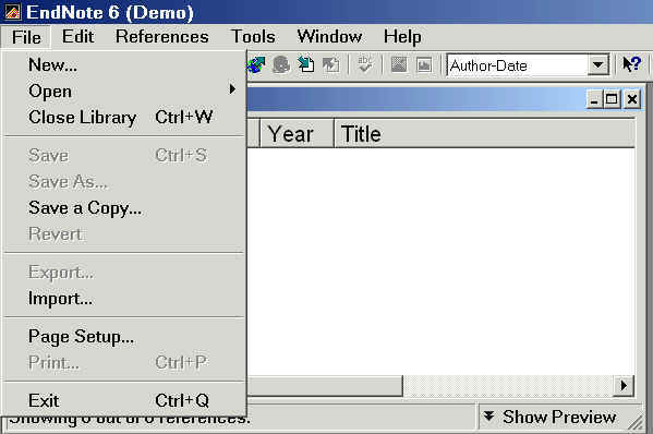 graphic showing the Endnote 'File' dropdown menu options