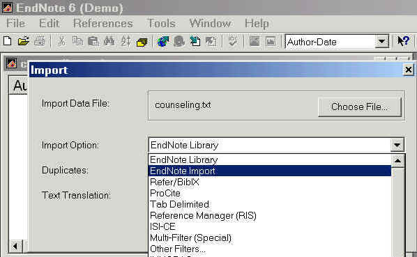 graphic showing 'Endnote Import' is the option selected on the Import screen
