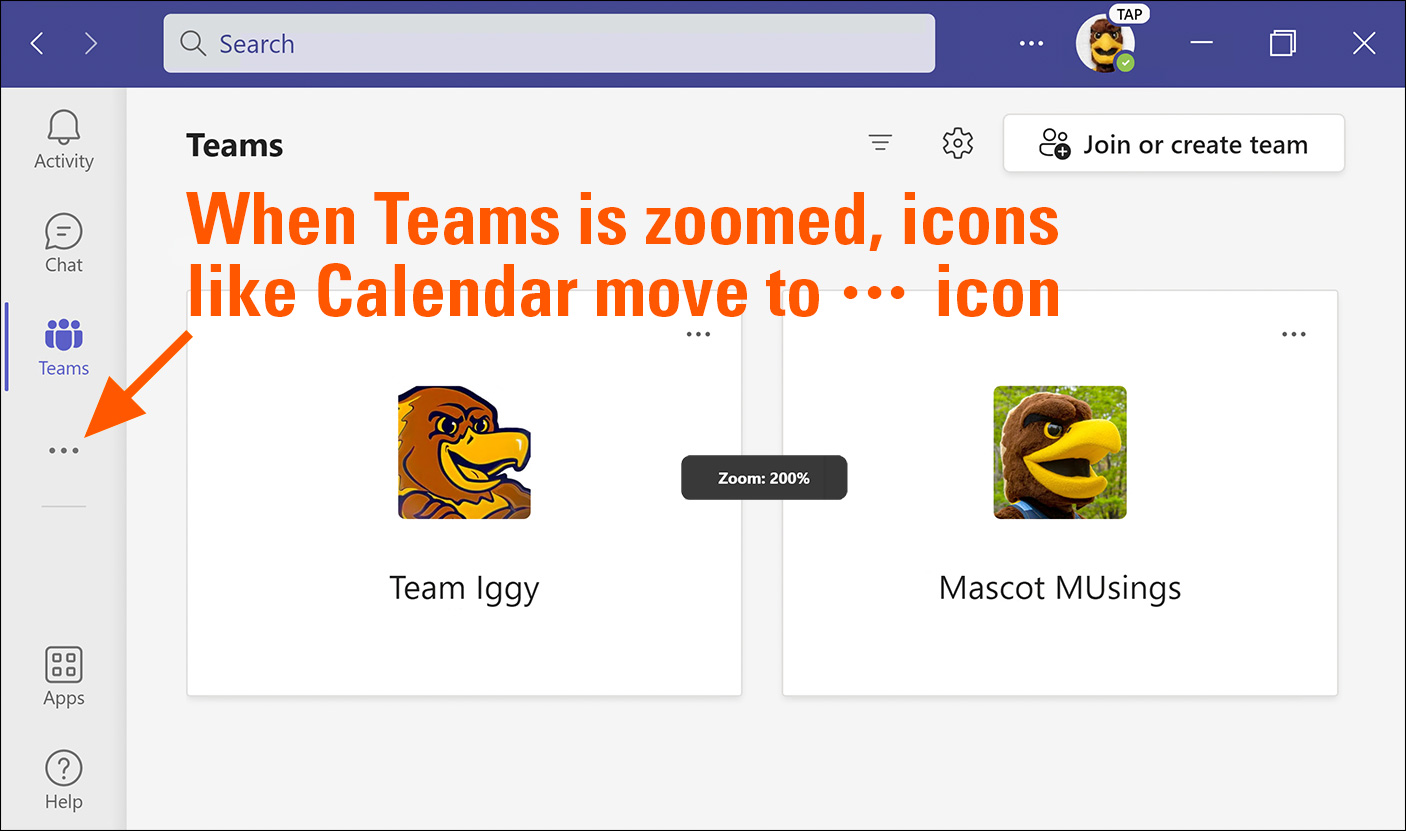 Zooming in and out when using Teams // Microsoft Teams