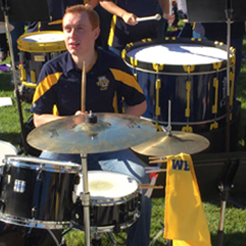Marquette University pep band performing outdoors
