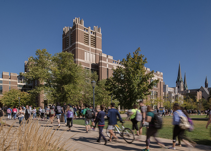 Students walking to class on the Marquette campus