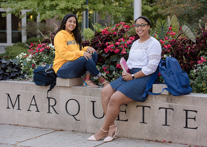 Students on the Marquette University campus