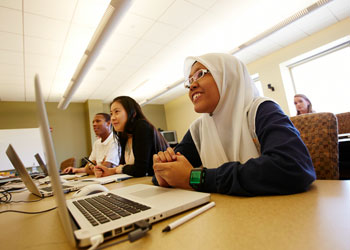 Students in a classroom on the Marquette University Campus