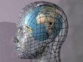 A wire form head with a globe as its brain