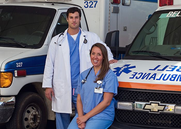 Physician assistant students in an ambulance bay