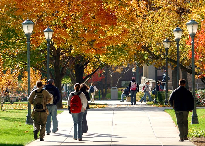 Students on Central Mall in autumn