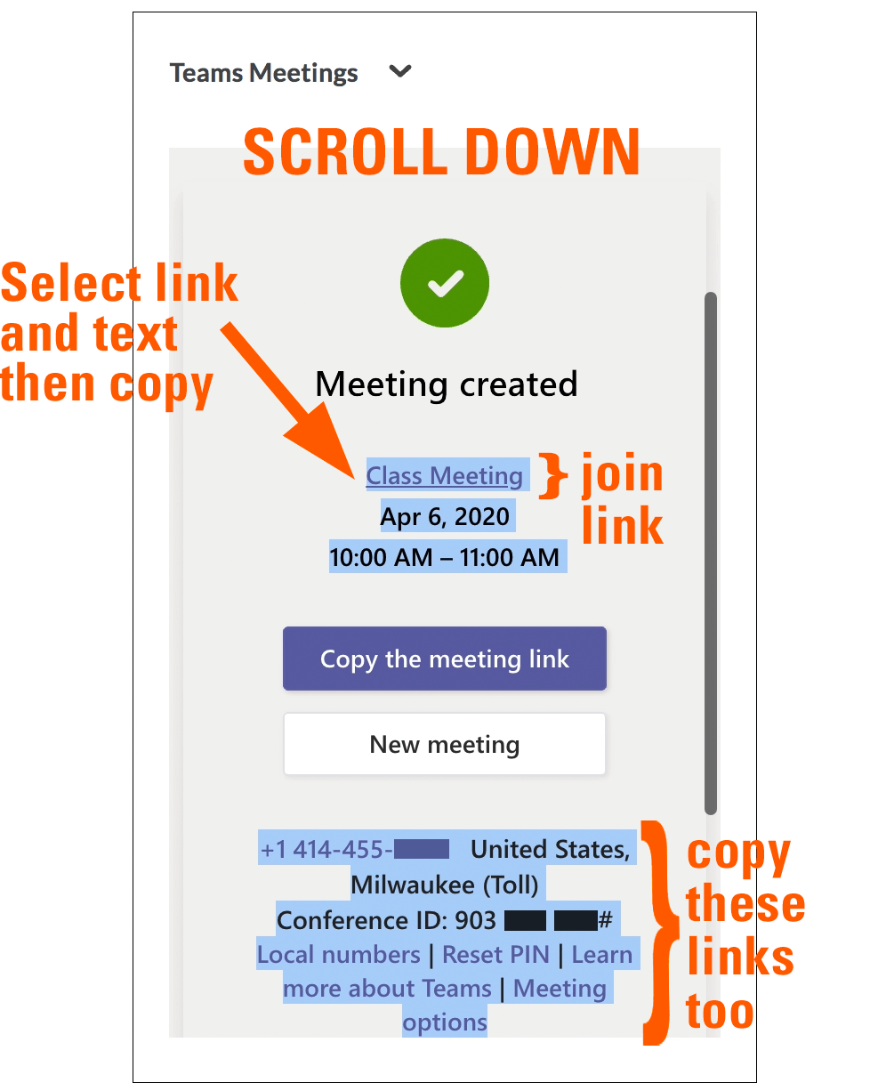 Meeting created, select link and text